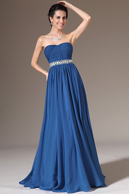 eDressit Blue Strapless Sweetheart Beaded A-Line Prom Dress (00140305)