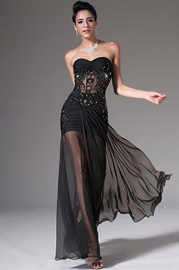 eDressit Strapless Sweetheart Black Evening Dress (00140900)