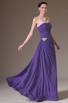 eDressit Purple Strapless Ruched A-Line Prom Dress (00141806)