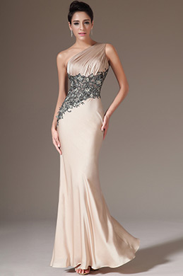 eDressit Champagne One-Shoulder Sheath Evening Dress(00142314)