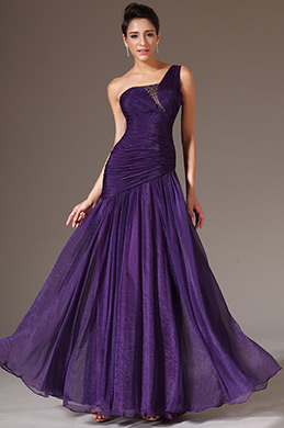 eDressit Purple Simple One-Shoulder Floor-Length Dress(00142606)