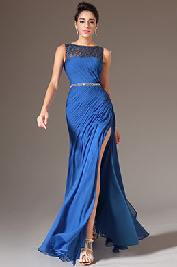 eDressit Blue Sequined Lace Top High-Slit Evening Gown(00143105)