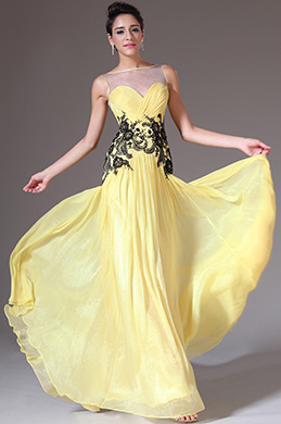 eDressit Yellow Sheer Top A-Line Prom Dress (00144003)