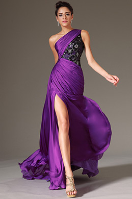 eDressit Purple One-Shoulder Lace Bodice Prom Dress(00144112)