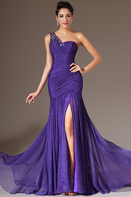 eDressit Purple Beaded One-Shoulder High Slit Dress(00144806)