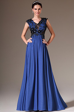 eDressit Blue V-Neck Sleeveless Applique Evening Dress(00145205)