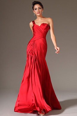 eDressit Red Simple One-Shoulder Evening Prom Dress(00145402)