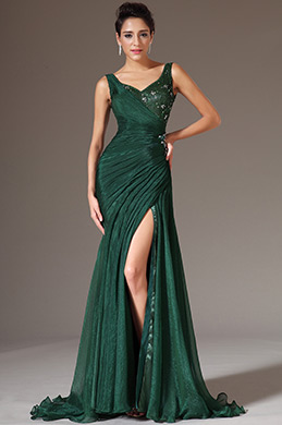 eDressit Green V-Neck High Slit Evening Gown(00145704)