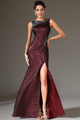 eDressit Lace Back High-Slit Burgundy Sheath Evening Gown(00145817)