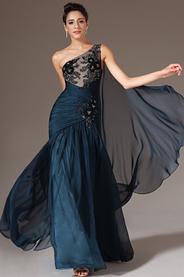 eDressit Dark Blue One-Shoulder Applique Top Ball Gown (00146005)