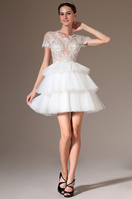 eDressit Sheer Lace Top Layered Short Wedding Dress(01140507)