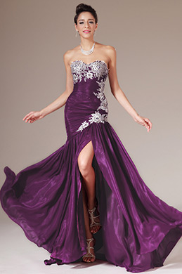eDressit Embroidered Strapless Sweetheart High-Slit Evening Gown (02140416)