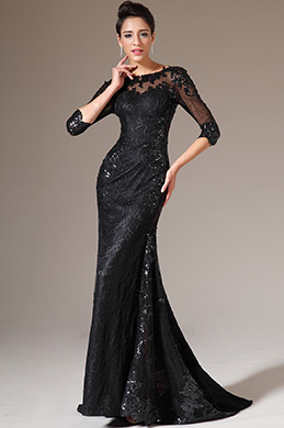 eDressit Black Half Sleeves Lace Evening Gown (02140700)