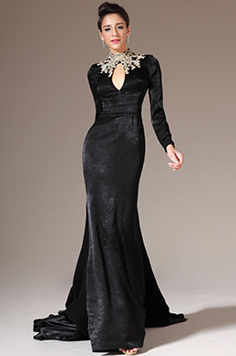 eDressit Black Embroidered High Neck Long Sleeves Evening Gown (02140800)