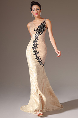 eDressit Champagne V-Neck Embroidered Lace Mermaid Evening Gown (02141514)