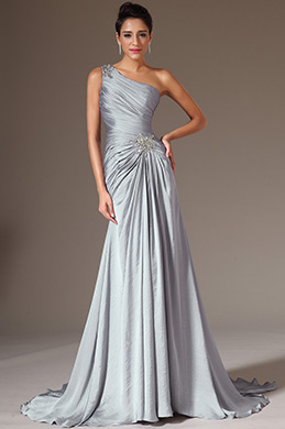 eDressit Grey Beaded One-Shoulder A-Line Evening Dress (02141726)