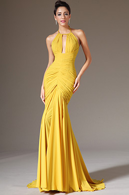 eDressit Halter Yellow Sheath Formal Evening Dress (02142203)