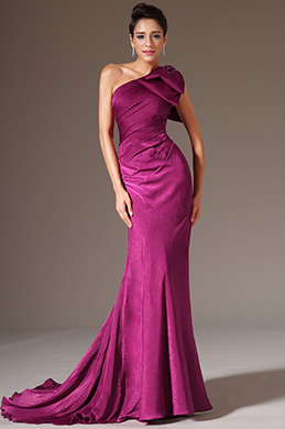 eDressit Fuchsia One-Shoulder Sheath Evening Gown (02142512)