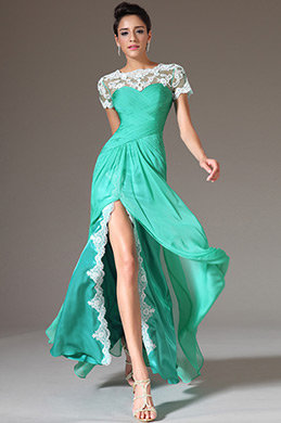 eDressit Green Top Lace Appliques High Slit Prom Dress(02142804)