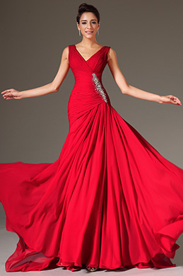 eDressit Red V-Neck A-Line Evening Dress (02142902)