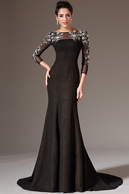 eDressit Black Sheer Top Tulle Sleeves Prom Gown (02143900)