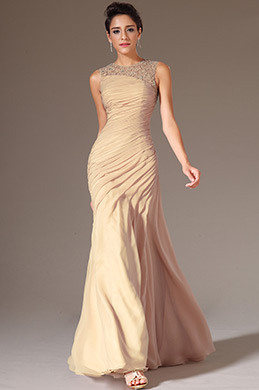 eDressit Champagne Round Neck Applique Sheer Top Evening Dress (02144446)