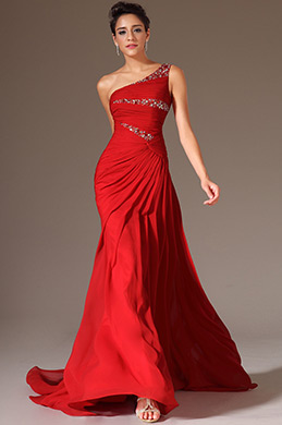 eDressit Red Beaded One-Shoulder Lace Back Long Evening Gown (02144602)