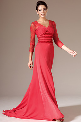 eDressit Red V-Neck Lace Sleeves Mother of the Bride Dress (02144902)