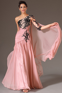 eDressit Pink One Shoulder Single Sleeve Evening Dress(02145146)