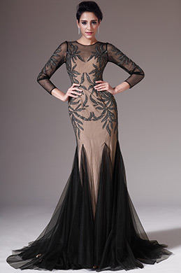 eDressit Black&Light Brown Long Sleeves Evening Prom Dress(02145200)