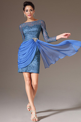 eDressit Blue Long Sleeves Lace Cocktail Dress (03141232)