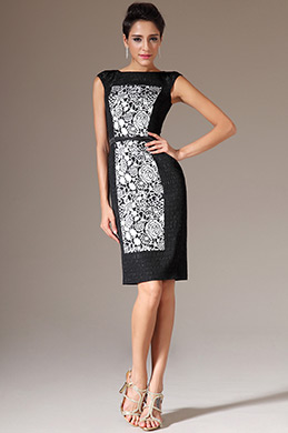 eDressit Flower Patterned Sleeveless Short Black Dress (03141400)