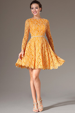 eDressit Yellow Long Sleeves Backless Lace Party Dress(04142003)
