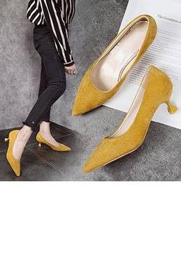 Women Chic Kitten Heels Closed Toe Shoes (0919088)