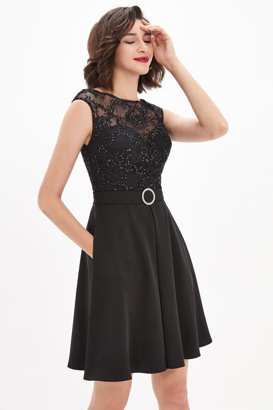 eDressit Black Illusion Neckline Sequins Lace Cocktail Party Dress (04210500)