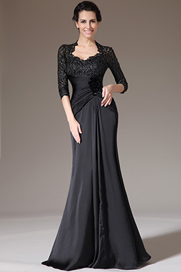 eDressit Black Lace Top Fitted Mother of the Bride Dress (26140200)