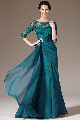 eDressit Green Lace Top Half Sleeves Mother of the Bride Dress (26141305)