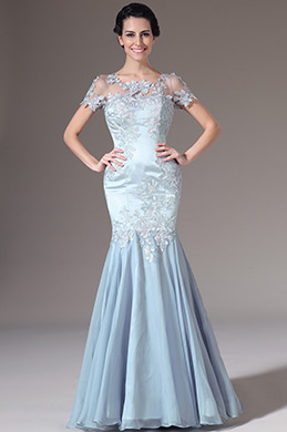 eDressit Blue Short Sleeves Embroidered Lace Mermaid Evening Dress (26142232)