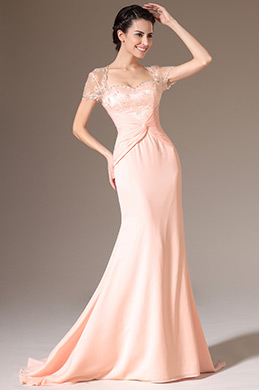 eDressit Pink Lace Top Cap Sleeves Backless Evening Gown (26142301)