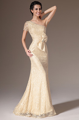 eDressit Champagne One-Shoulder Sheath Lace Evening Gown (26142414)
