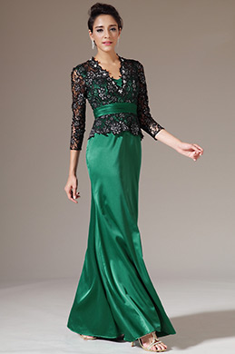 eDressit Black Lace Top Long Sleeves Green Mother of the Bride Dress (26143104)