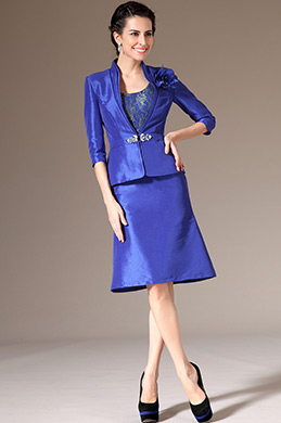 eDressit Blue Jacket 2pcs Taffta Mother of the Bride Dress (26143805)