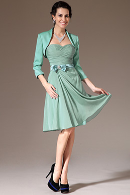 eDressit Turquoise Jacket 2 Pieces Short Bridesmaid Dress(26145404)