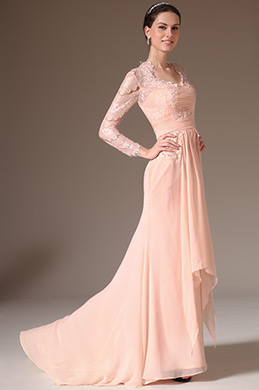 eDressit Pink Lace Top Long Sleeves Mother of the Bride Dress (26145601)
