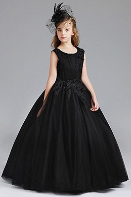 eDressit Black Round Neck Sleeveless Flower Girl Dress (27200400)