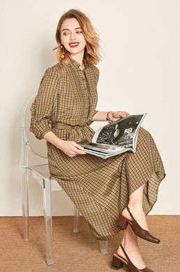 eDressit Chic Plaid Shirt Dress Wear to Work (30191920)