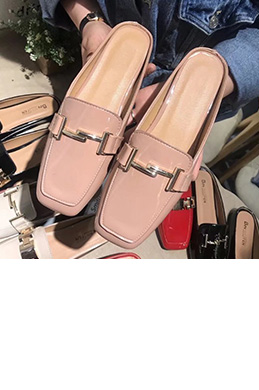 Classic Leather Toe Closed Pointed Flat Slipper Shoes (0919083)