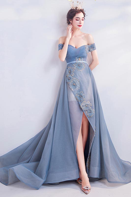 eDressit New OFF Shoulder Fog Blue Tulle Party Evening Dress (36223905)