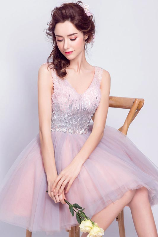eDressit Sparkly Pink Sequins V Cut  Short Cocktail Dresses (35198801)