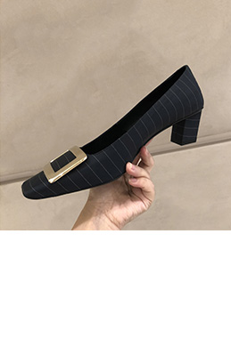 Women's Sexy Block Heels Closed Toe Pumps Shoes (0919037)